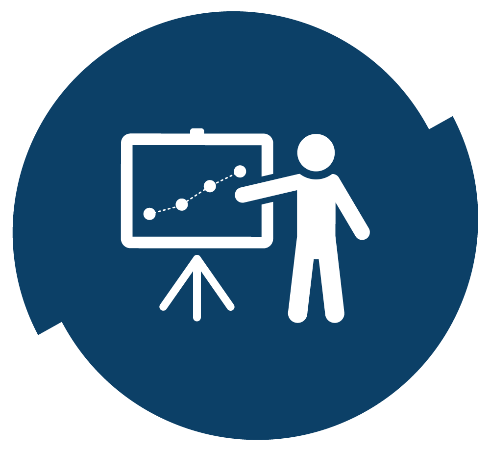 Person in front of a white board with a graph on it. Illustration.