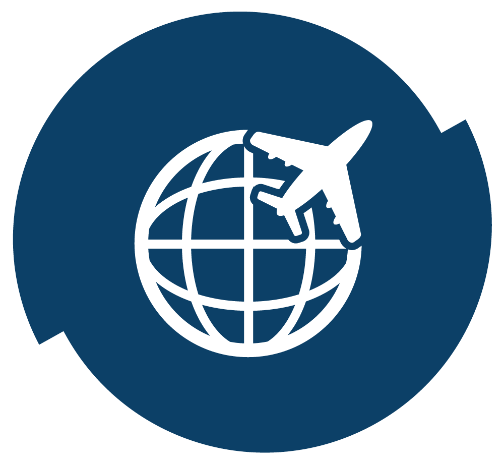 Globe with plane across it. Illustration.