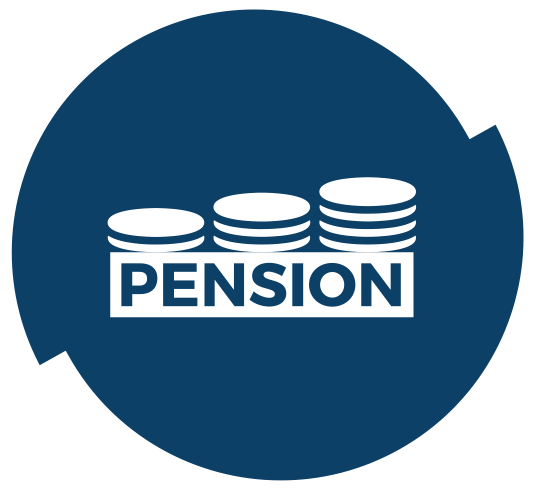stack of coins on blue background with teh word Pension on